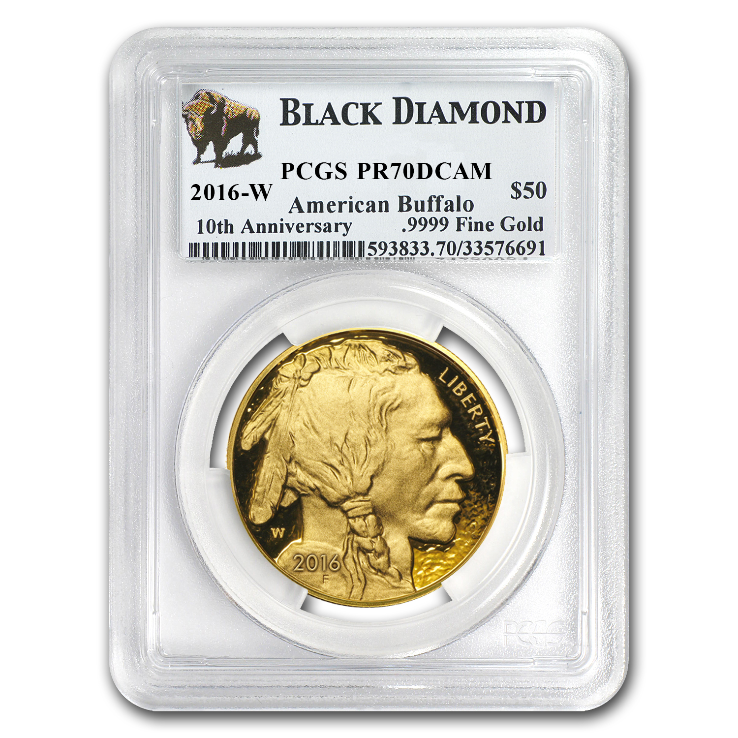 2016-W 1 oz Proof Gold Buffalo PR-70 PCGS (Black Diamond)